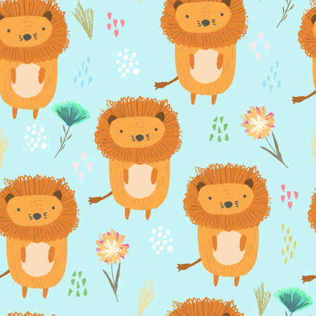 Cute seamless pattern with orange lions, colorful dots and childish flowers and grass on blue. Funny summer hand drawn safari feline cats texture for kids design, wallpaper, textile, wrapping paper