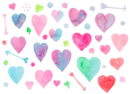 Collection of cute vibrant vector watercolor hearts and arrows for Valentines day greeting cards and banners design. Cute hand drawn pink, blue, green heart illustration for romantic decoration