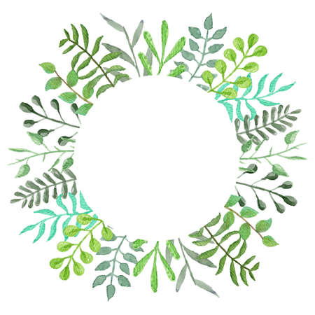 Round vector watercolor frame with tender green leaves and branches. Summer floral circle wreath for birthday greeting cards, banner design, spring wedding event decoration