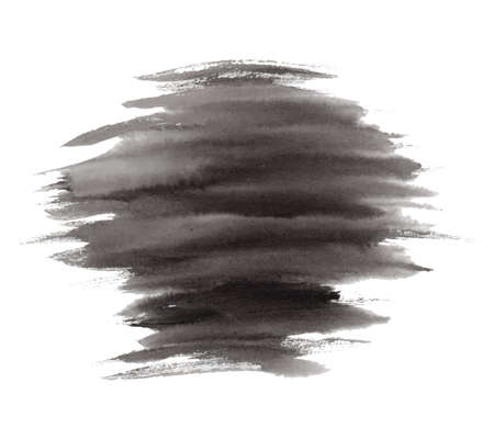 Abstract vector expressive striped black ink or watercolor stain. Mysterious textured inky blob isolated on white background, dark thunderous cloud concept
