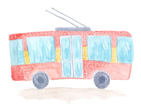 Cute colorful vector hand drawn watercolor trolleybus. Tender childish illustration of trolley isolated on white background for kids prints, educational apps, books Foto de archivo