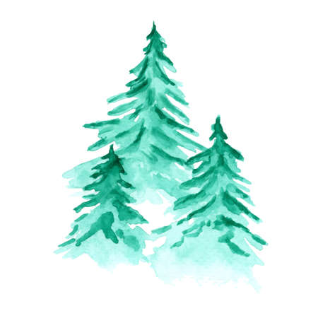 Beautiful vector watercolor background with green coniferous fir forest. Mysterious pine trees illustration for winter Christmas design, isolated on white background Vectores
