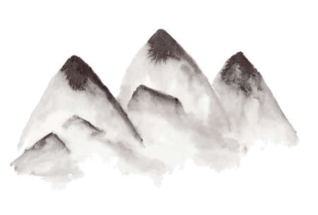 Black traditional chinese ink hand drawn foggy mountains illustration. Sketchy mountain in fog isolated on white background Vectores