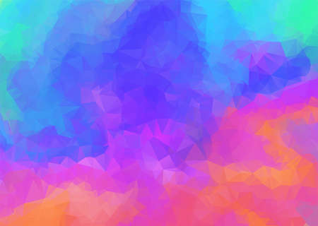 Bright rainbow colors polygonal Aurora Borealis background. Abstract colorful vibrant low poly triangle polar lights texture for software, ui design, web, apps wallpaper, banner Vectores