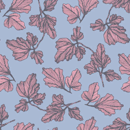 Tender violet floral seamless pattern with pink hand drawn textured columbine leaves. Delicate aquilegia leaf botanical texture for textile design, wrapping paper, surface, wallpaper, background