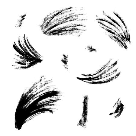 Collection of isolated vector textured black grunge wavy and splash ink brush strokes. Dirty hand drawn inky curve lines and blobs for graphic design, decoration