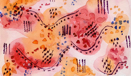 Abstract pink and orange watercolor background with dark ink stripes and dots. Bright warm horizontal watercolour texture illustration for banner, cover, print, textile, surface design