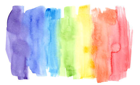 Bright horizontal rainbow colors watercolor lines background in wash technique. Colorful striped gradient flag frame for lgbt design, banner, poster, isolated on white background