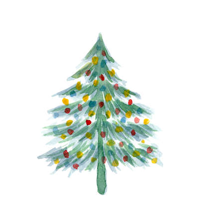 Cute watercolor Christmas tree with colorful balls isolated on white background. Green New Year coniferous fir or pine for winter holidays greeting cards design, banner or background decoration