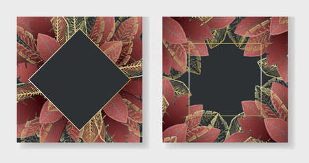 Collection of dark red square shape backgrounds with golden tropical leaves. Summer exotic pale ruby leaf frames for birthday greeting cards, banner design, wedding invitations