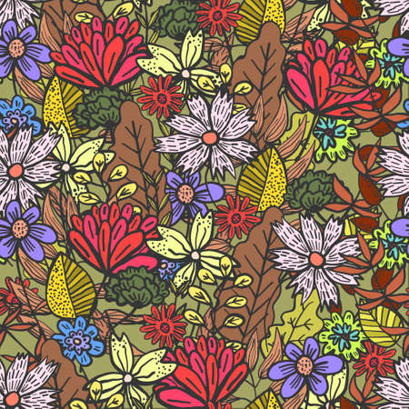 Bright brown doodle floral seamless pattern with mess of color flowers and leaves. Childish summer texture with red and purple blossoms for textile, wrapping paper, background, surface, wallpaper