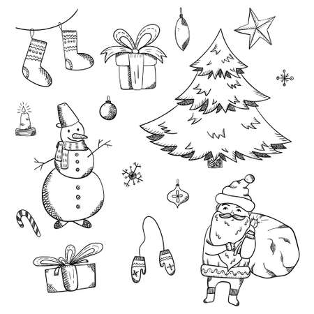 Big set of outline black doodle Christmas elements including fir, snowman, Santa Claus, giftboxes, mittens, stocking, decorating balls for new year banner design, stickers, coloring books, kids apps
