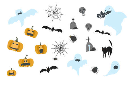Collection of cute hand drawn Halloween elements. Big set of cartoon ghosts, pumpkins, skulls, bats, spiders, cat for greeting cards design, stickers, banners decor Vectores
