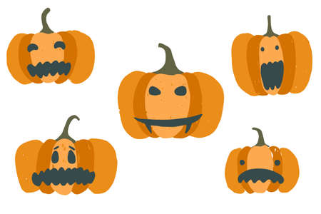 Set of cute cartoon orange vector jack-o-lanterns. Collection of scary Halloween pumpkins for greeting cards design, stickers, banners decor