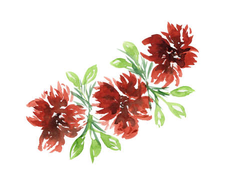 Bright watercolor red flowers and green leaves floral bouquet. Color painting composition with orange aster or peonies flowers and fresh leaves for invitation, wedding, greeting cards design, sticker Foto de archivo