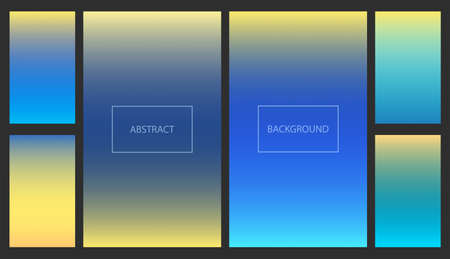 Bright blue and yellow gradients for smartphone screen backgrounds. Set of soft deep nature sky color vibrant wallpaper for mobile apps, ui design, banner Ilustracja