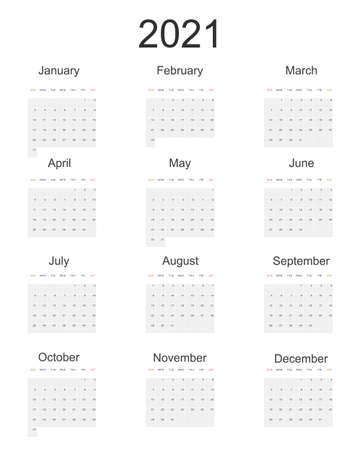 2021 full year vector wall calendar in minimal simple style on white background. Week starts in Sunday, twelve month calendar in one. Work and holiday events planner, block-almanac mockup or template