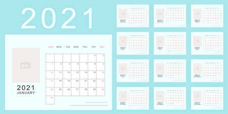 Bright blue minimalistic calendar of new 2021 year with place for photo. Week starts in Sunday, twelve month calendar. Work and holiday events planner, block-almanac template