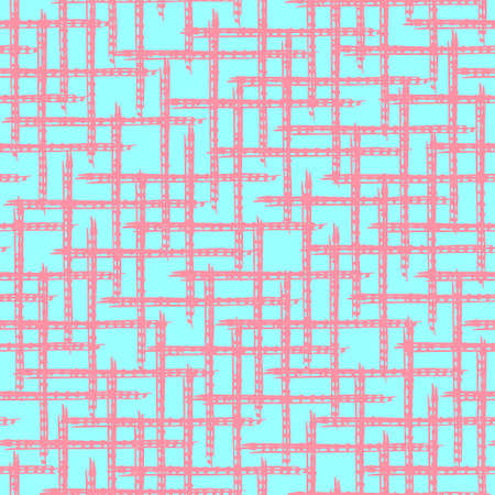 Abstract blue and pink grunge seamless pattern with hand drawn grid ornament of brush strokes lines. Contrast trendy distressed elements texture for textile, wrapping paper, cover, surface, wallpaper 版權商用圖片 - 159639780