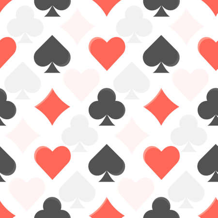 Flat vector black and red colorful seamless pattern with playing cards suits. Diamonds, clubs, hearts and spades texture for leisure activity games design, textile, wrapping paper, background