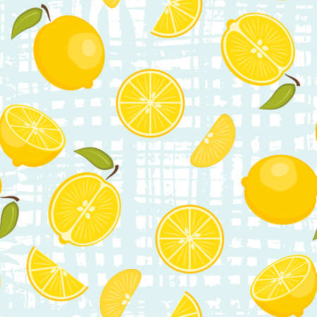Cute vector seamless pattern with yellow lemons on pastel  crossed brush strokes background. Fresh fruits texture for textile, wrapping paper, surface, wallpaper design