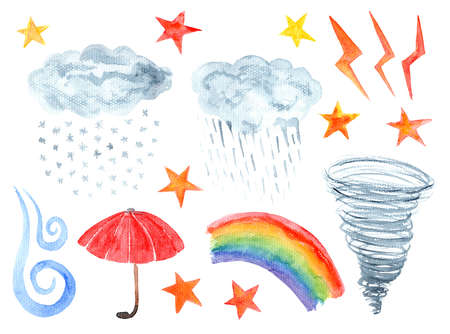 Set of cute textured cartoon watercolor weather elements. Collection of bright funny clouds, stars, wind and rainbow icons for kids books and apps, stickers, greeting cards and banners design