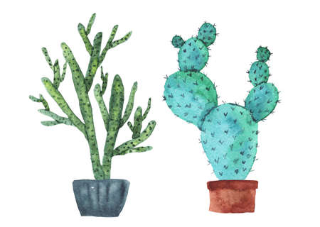 Set of cute sketch watercolor green and blue cactus with in pots. Bright dotted watercolour cacti for stickers, home decor, nature banner design