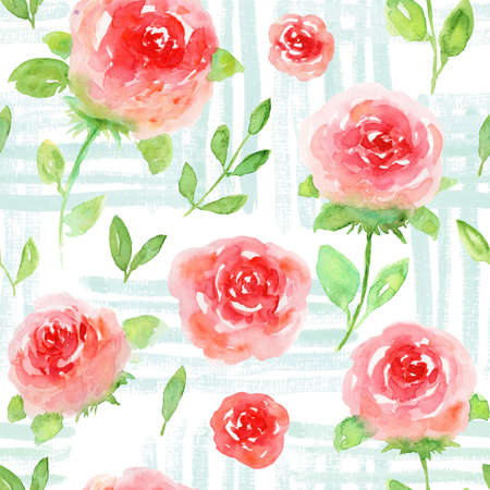Beautiful seamless pattern with hand drawn watercolor red roses on blue textured background. Delicate watercolour floral texture for textile, wrapping paper, surface design, wallpaper Stock fotó
