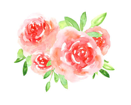 Delicate watercolor red and pink floral roses with bright green leaves bouquet. Colorful painting flowers composition for invitation, wedding or greeting cards design, sticker, banner decor Stock fotó