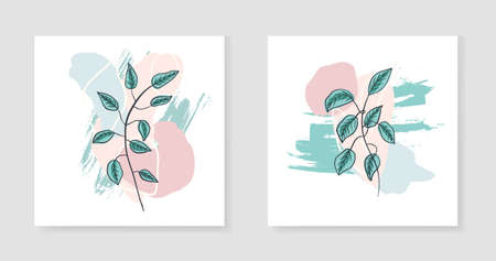 Set of abstract textured hand drawn minimalistic vector backgrounds with botanical elements. Collection of square illustrations for social media design, banner, greeting cards, wallpaper
