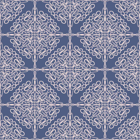 Dark abstract arabic lace floral seamless pattern in blue and pink colors, east style. Elegant macrame ethnic texture for textile, wallpapers, wrapping paper, surface design Illusztráció