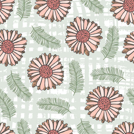 Summer floral seamless pattern with coral gerbera flowers and green leaves on textured background. Trendy hand drawn plants texture for textile, wrapping paper, surface, wallpaper