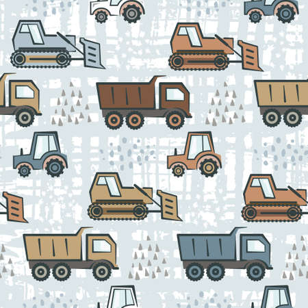Colorful seamless pattern with flat construction transport and abstract hand drawn shapes. Childish boys texture with cartoon dozer, tractor and dumper for kids textile, wrapping paper, wallpaper