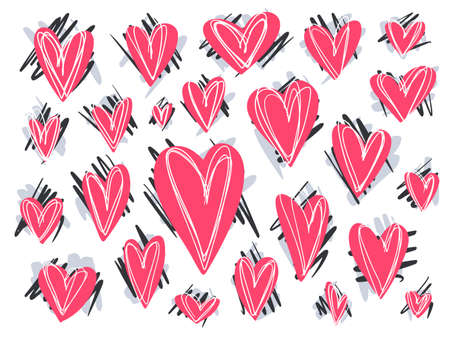 Big collection of cute doodle hand drawn pink hearts with messy textured backgrounds for Valentines day greeting cards and banners design, stickers
