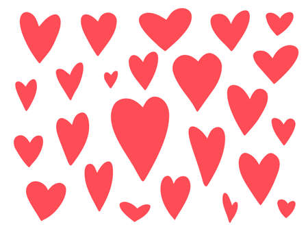 Big collection of cute vector doodle hand drawn hearts for Valentines day greeting cards and banners design. Lovely red and pink heart illustration for romantic decoration