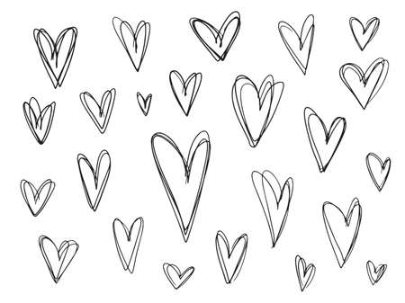 Collection of messy outline grunge textured black hearts frames for Valentines day greeting cards and banners design. Lovely stroking heart illustrations for romantic decoration Illusztráció
