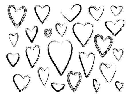Collection of outline grunge brushes black textured hearts frames for Valentines day greeting cards and banners design. Lovely scratchy heart illustration for romantic decoration Illusztráció
