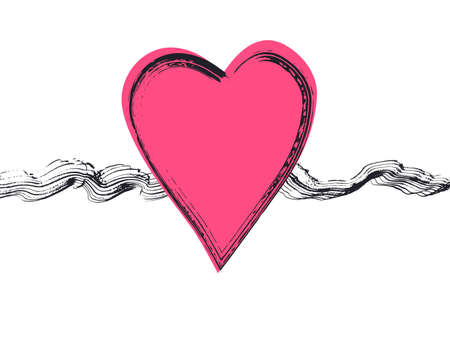 Big pink heart with black wavy brush strokes and textured outline for Valentines day greeting cards, 14 february posters, marriage and lovely events design