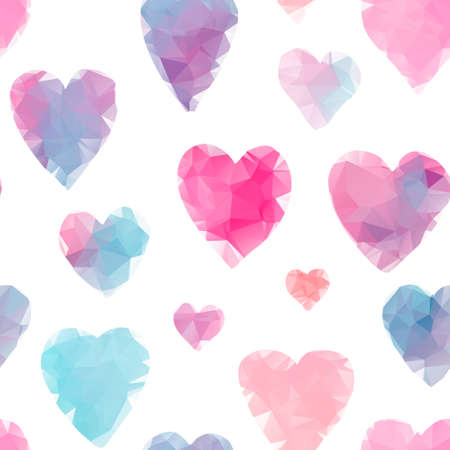 Abstract seamless pattern with red, blue and pink bright polygonal hearts. Lovely textured background for Valentines day wallpaper, textile, wrapping paper, cards design Illusztráció