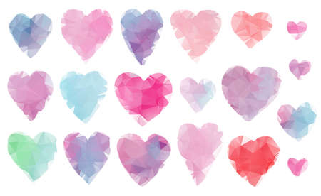 Beautiful collection of cute vibrant polygonal hearts for Valentines day greeting cards and banners design. Abstract pink, blue, purple, green heart illustration for romantic decoration