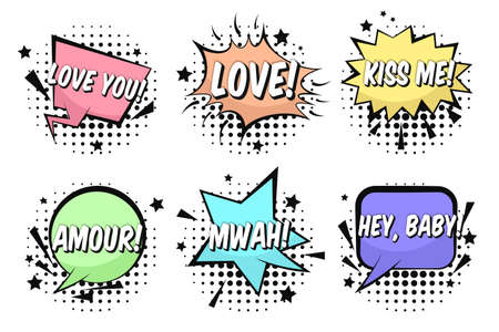 Bright St. Valentines retro comic speech bubbles set with LOVE, KISS ME, MWAH, AMOUR words. Black outline balloons with halftone shadow in pop art style for lovely advertisement, comics book