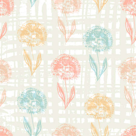 Cute light seamless pattern with textured hand drawn colorful dandelion flowers.