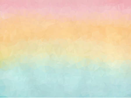 Horizontal gradient from blue to orange and pink polygon background. Bright coral sky and turquoise water polygonal textured concept Illusztráció