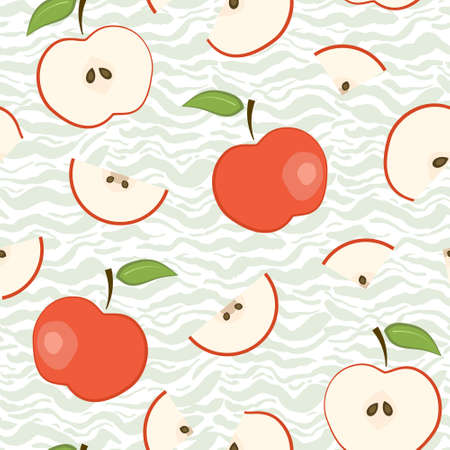 Cute vector seamless pattern with red apples on pastel green wavy brush strokes background. Fresh fruits texture for textile, wrapping paper, surface, wallpaper design