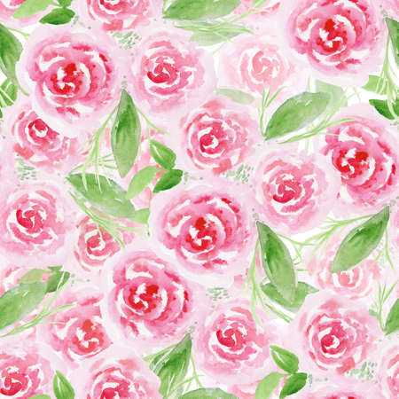 Beautiful seamless pattern with hand drawn watercolor pink roses on white background. Delicate watercolour floral texture for textile, wrapping paper, surface design, wallpaper