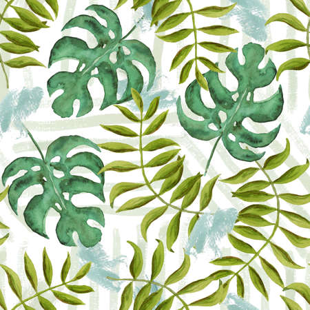 Watercolor seamless pattern with overlap mess of neutral colors tropical leaves on brown background. Stock fotó