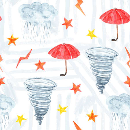 Cute rainy watercolor seamless pattern with textured weather elements.
