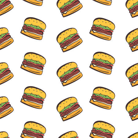 Cartoon seamless pattern with bright colorful hamburgers on white background. Doodle vector burger texture.
