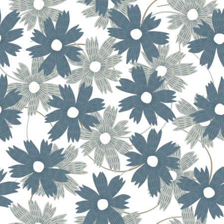 Tender floral seamless pattern with indigo blue and gray pastel hand drawn aster flowers on white background. Doodle botanical texture for textile, wrapping paper, surface, wallpaper