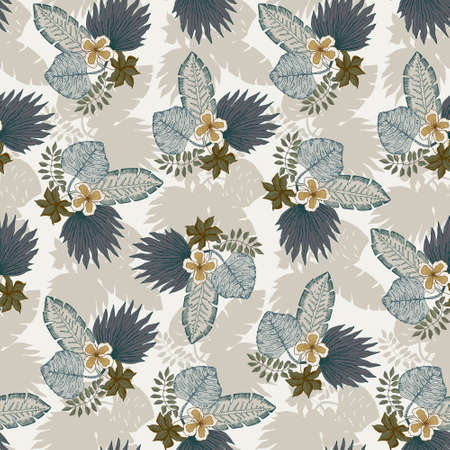 Tender seamless pattern with blue and beige tropical leaves and flowers bouquets. Botanical texture for textile, wrapping paper, surface, wallpaper Illusztráció